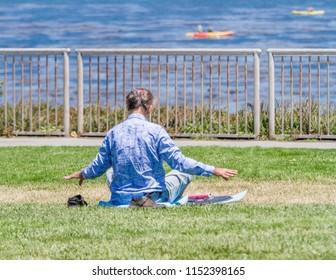 Peaceful yoga by the Ocean