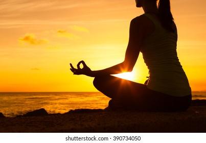 Peaceful yoga on the beach.