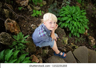 A peaceful young, 6 year old boy is sitting in a rock garden by some green hosta plants on a sumemr day.