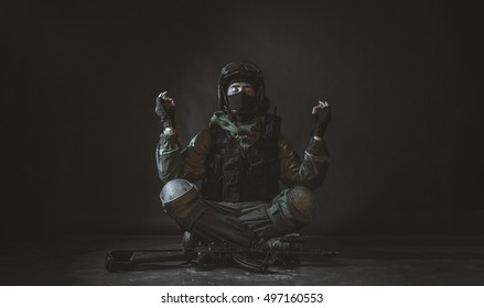 A peace-loving soldier of special forces division is a symbol of airsoft. Meditation. Peace and harmony. Yoga.