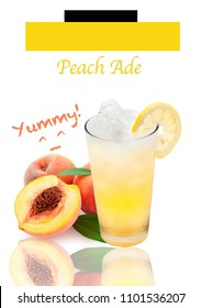 Peach ade in glass isolated on white background