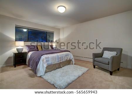 Peach Bedroom Interior Queen Size Bed Stock Photo (Edit Now ...
