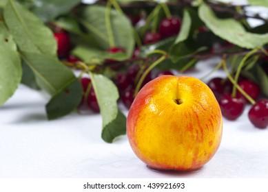 peach and cherry