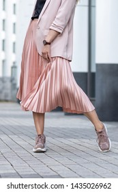 Peach colored A Line Pleated Skirt