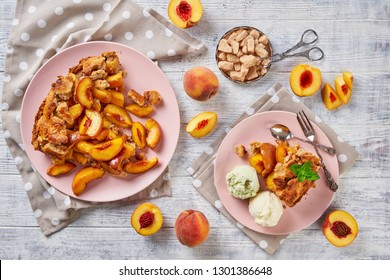 Peach crumble pie or cobbler top view, flat lay