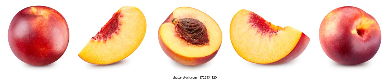 Peach. Fresh organic peach isolated on white background. Peach collection