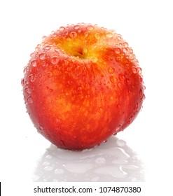 Peach. Fresh peach with water drops. Close up, macro foto