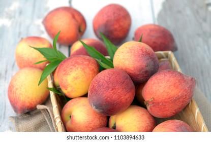 peach fruit from the garden in summer