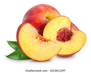 Peach fruit with leaf isolated on white background