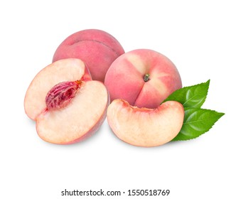 Peach fruit with leaf isolated on white background,Fresh White Peach on White Background (With clipping path)