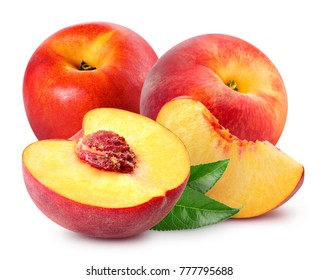 Peach fruit slice with leaf isolated on white background
