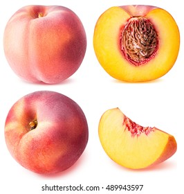 peach fruit sliced collection isolated on white background clipping path