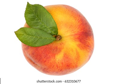 Peach fruit top view from above isolated on a white background