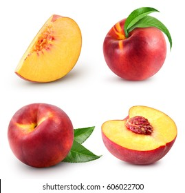 peach fruits collection with green leaf isolated on white background