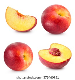 Peach fruits collection isolated