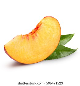 peach fruits with green leaf isolated on white background
