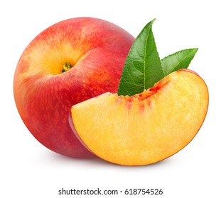 peach fruits with leaf isolated on white background