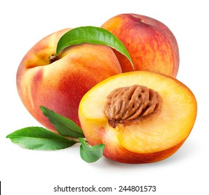 Peach. Fruits with leaves isolated on white background