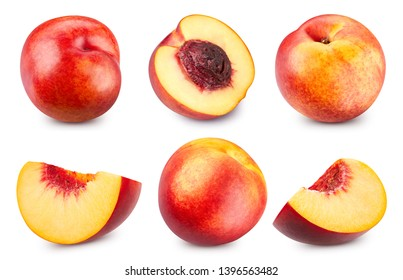 Peach half collection Clipping Path. Peach isolated on white background. Big set fresh peach fruits. Professional studio macro shooting