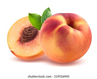 Peach and half isolated on white background as package design element