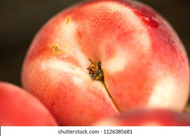 Peach isolated on table. Full depth of field.