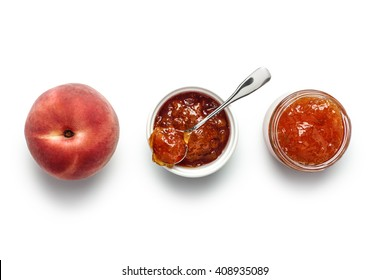 Peach Jam in jar and ramekin with fresh peach. Peach preserve recipe.
