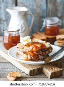 Peach jam on bread slices