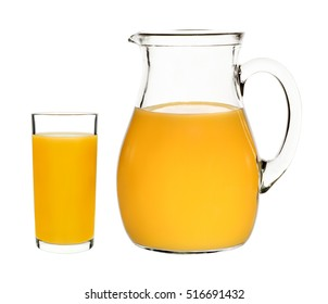 peach juice in a glass and carafe on a white background