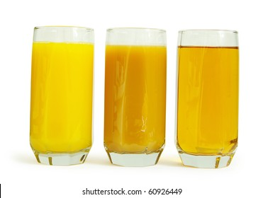 peach juice in glass isolated on white background
