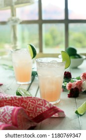 peach juice with lime by the window