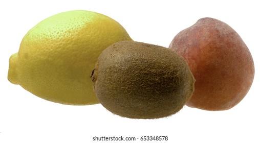Peach, Kiwi and Lemon isolated on white background