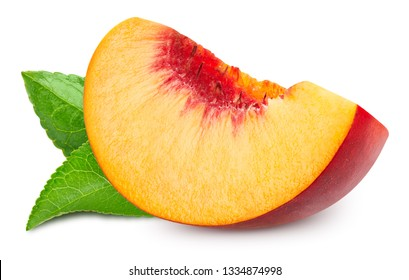 Peach with leaf. Peach fruits isolated on white background. Peach Clipping Path. Professional studio macro shooting