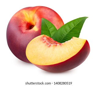 Peach with leaf isolated on white background. Fresh peach isolated on white Clipping Path. Professional studio macro shooting