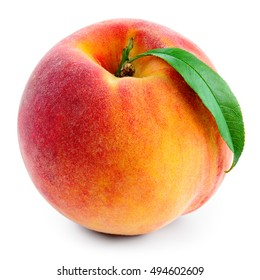 Peach with leaf isolated on white. With clipping path.