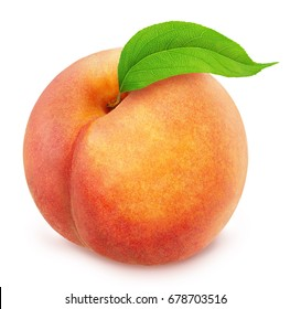 Peach with leaf isolated on white. Full depth of field.