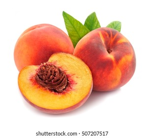 Peach with leaves on a white background .