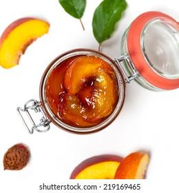 Peach or Nectarine Jam. Isolated on white