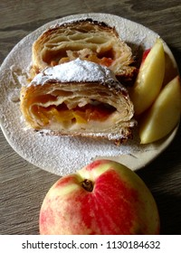 Peach pie freshly baked and served