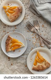 Peach pie on a gray background