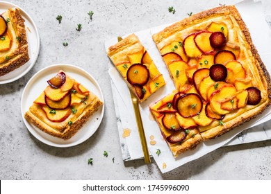 Peach, Plum and Thyme Puff Pastry Tart