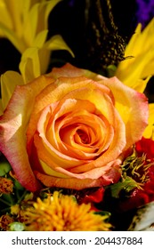 A peach rose in the center of a bouquet of flowers.