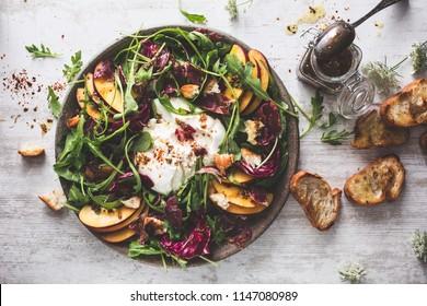 Peach Salad with Burrata, Arugula, Lettuce and Bread