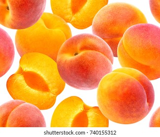 Peach seamless pattern. Ripe peaches isolated on white background
