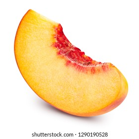 Peach slice. Fruits isolated on white background. Peach Clipping Path