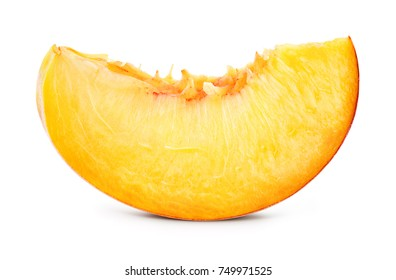 Peach slice isolated. Peach slice on white. Peach. With clipping path.