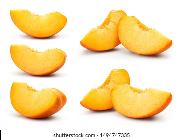 Peach slice isolated. Peach set on white background. Collection. With clipping path.