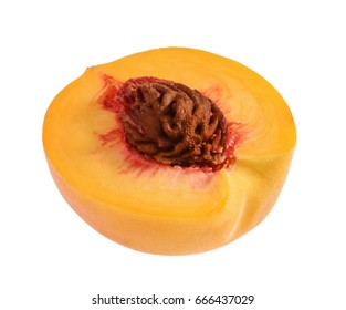 Peach slice isolated without shadow