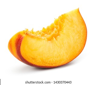 Peach slice on white background. Sliced peach isolated.