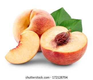 Peach with slices and leaves isolated on white