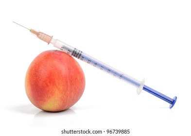 Peach and syringe